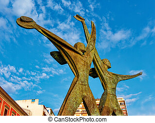 Monument to the Sailor honor to people died in World War II at sunset in Taranto Puglia Italy