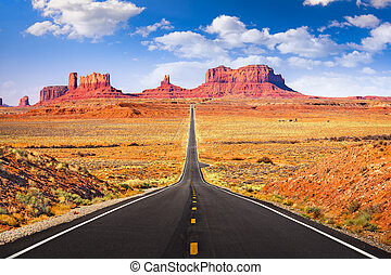 Monument Valley, Arizona, USA iconic roadway.