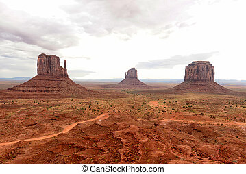 monument valley, con, un, cielo nublado