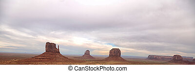 Monument Valley landscape with cloudy sky