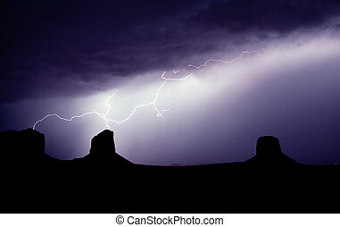 Monument Valley Lightning - Lightning hits the buttes in ...