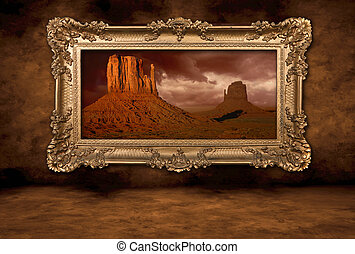 Monument Valley Panorama in a Vintage Boroque Frame -...