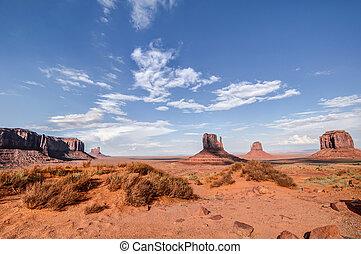 Monument Valley. Red Desert. - Red Desert. The famous cliffs...