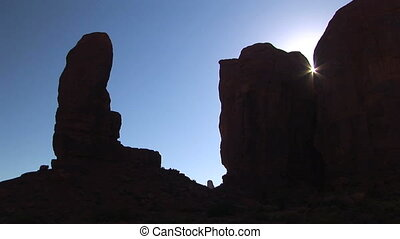Monument Valley Silhouette - The Thumb Silhouette, Monument...
