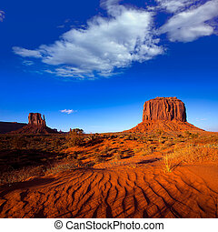 Monument Valley West Mitten and Merrick Butte desert sand...