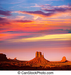 Monument Valley West Mitten and Merrick Butte sunset