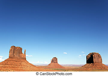 Monument Valley with big blue sky