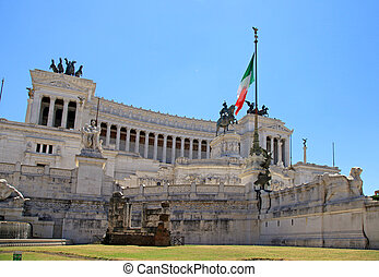 Monument Vittorio Emanuele II or Altar of the Fatherland in Rome, Italy.