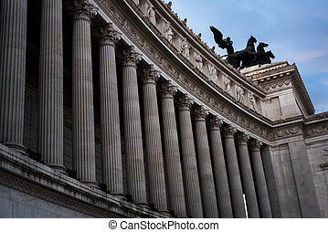 Monumental columns of the facade of the Vittorio Emanuele II palace in Rome