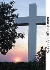 Monumental Cross at Sunrise or Sunset