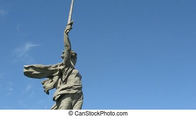 Monumental statue Motherland Calls in Volgograd, time lapse