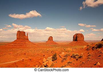monumento, arizona, 3, valle, buttes