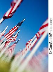 monumento conmemorativo, banderas, día, estados unidos de ...