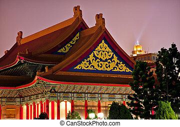 monumento conmemorativo, chino, techos, casa, monumento nacional, ópera, chiang, noche, florido, taiwán, vestíbulo, taipei, kai-shek