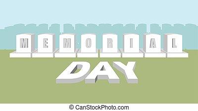 monumento conmemorativo, day., soldado, cemetery., fiesta nacional, en, usa., norteamericano, militar, lápida