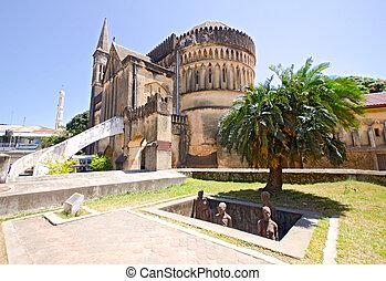 monumento conmemorativo, esclavo, mercado, zanzibar
