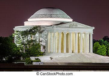 monumento conmemorativo, jefferson, washington dc, noche