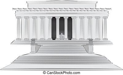 monumento conmemorativo, lincoln, illlustration
