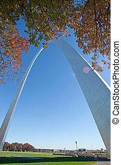 monumento conmemorativo, misuri, louis, arco, santo, entrada