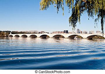 monumento conmemorativo, puente, río de potomac, washington...