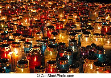 monumento conmemorativo, velas