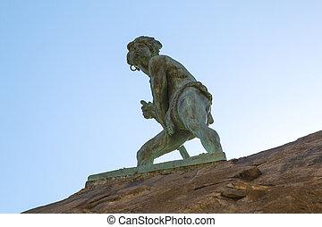 monumento, en, cerro, santa, lucia, en, santiago, de, chile