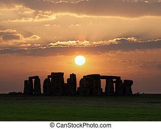 monumento, england., sitio., unesco, stonehenge, herencia, ...