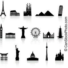 monumento, famoso, vector, conjunto, iconos