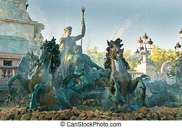 monumento, fuente, burdeos, girondins, francia
