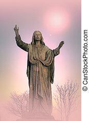 monumento, jesús, artístico, plano de fondo, cristo