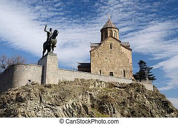monumento, re, punto di riferimento, vakhtang, gorgasali, cavallo, chiesa, metekhi, georgia, famoso, tbilisi