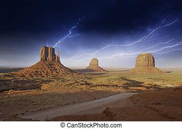 monumento, sopra, valle, tempesta, pietre