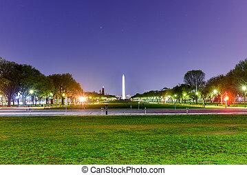 monumento washington, notte