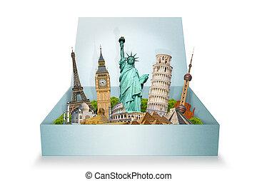 monumentos, famoso, mundo