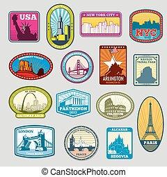monumentos, señales, etiquetas, famoso, emblemas, vector, mundo