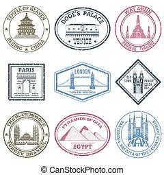 monumentos, sellos, conjunto