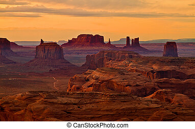 Monuments after sunset - Monument Valley-Hunts Mesa Sunset...