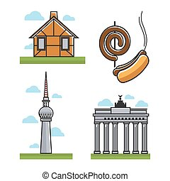 Monuments and hot dogs - Vector illustration of house,...