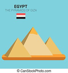 Monuments and landmarks Vector Collection: The Pyramids of Giza. Descripci?n: Vector illustration of The Pyramids of Giza (Egypt). Monuments and landmarks Collection.