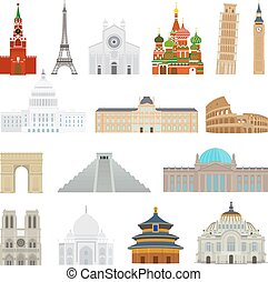 Monuments flat icons