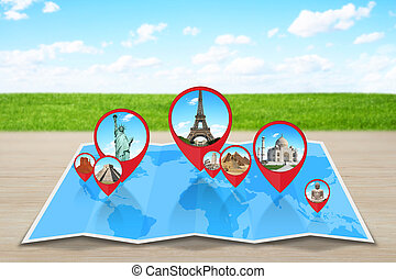 Famous monuments of the world grouped together on a map with pin icon