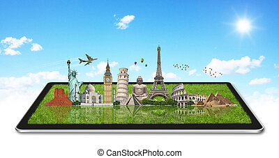 Monuments of the world on a tactile tablet