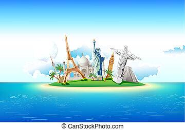 Monuments on Island - illustration of world famous monument...