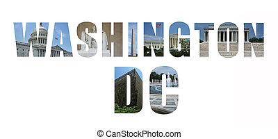 monuments, repères, collage, dc, washington