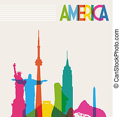 Monuments silhouette of America - Diversity monuments of...