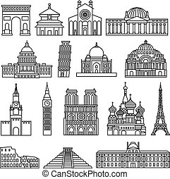 Monuments thin line icons
