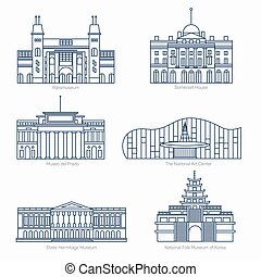 Monuments thin line vector icons. Museums - Monuments thin...
