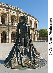 Monumetnt of matador in front of Arenas of Nimes