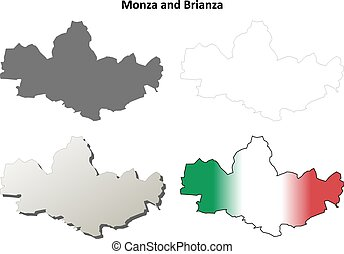 Monza and Brianza blank detailed outline map set - Monza and...