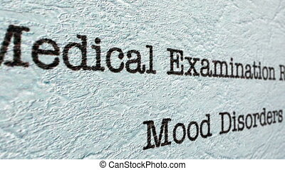 Mood disorder medical report